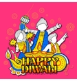Kid celebrating happy Diwali Holiday doodle vector image vector image