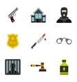 Lawlessness icons set flat style vector image