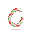 letter c 3d realistic candy cane alphabet vector image vector image
