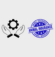 line gear care hands icon and grunge animal vector image vector image