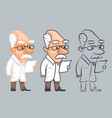 lineart scientist reading paper study character vector image vector image