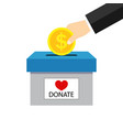 money box for charity donate hand giving coin for vector image vector image