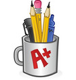 mug pencils pens crayons and markers vector image