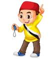 Muslim boy holding stopwatch vector image vector image