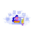 online education design concept a woman working vector image vector image