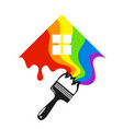 painting a house with a brush vector image vector image