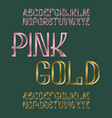 pink and gold typefaces metallic stamped font vector image vector image