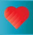 pink heart of gradient stripes on blue background vector image vector image