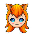 pixel anime girl with cat ears isolated vector image