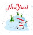 santa claus on skis winter sport vector image vector image