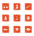 serious crime icons set grunge style vector image vector image