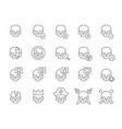 set human skulls line icon healthy cranium vector image