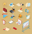 set isometric business icons vector image