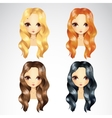 Set Of Casual Wave Hair Styling vector image vector image