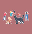 set stickers people and pets theme cat with vector image vector image