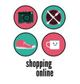 shopping online typographic poster design vector image