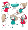 Snow fun set vector image vector image