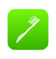 toothbrush with toothpaste icon digital green vector image vector image