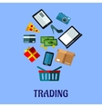Tradingflat poster design for online shopping vector image vector image