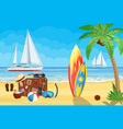 vintage old travel suitcase on beach vector image