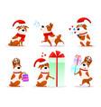 xmas flat puppy emoji collection vector image