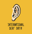 yellow international deaf day concept background vector image vector image