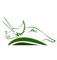 triceratops dinosaur green icon vector image