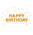 happy birthday gold greeting card vector image
