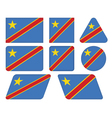 buttons with flag of DR Congo vector image