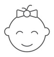 baby girl thin line icon kid and child vector image vector image