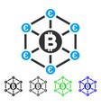 bitcoin euro network flat icon vector image vector image