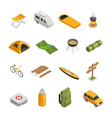 Camping Hiking Isometric Icon Set vector image