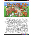 cartoon funny cats and dogs group coloring book vector image vector image