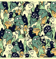 cartoon monsters seamless pattern hand draw vector image vector image