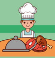 chef boy cartoon and food service meat fish vector image vector image