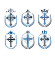 christian crosses emblems set heraldic design vector image vector image