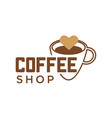 coffeeshop coffee cup and cappuccino heart vector image vector image