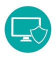 computer shield server banner icon vector image vector image