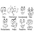 diffferent facial expressions with words vector image vector image