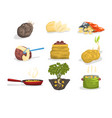 dishes of potatoes set raw and cooked potatoes vector image vector image