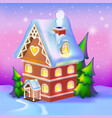dreamlike cottage in the snow vector image vector image