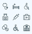drug outline icons set collection of injection vector image vector image