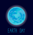 earth day planet earth on dark blue vector image vector image