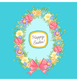 Easter wreath egg blue vector image vector image