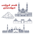 Famous tourist attractions of UAE thin line icons vector image