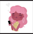 fashionable girl with phone vector image vector image