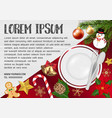 food dish with chrismas object on wood table vector image vector image