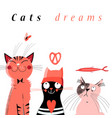 graphic of cute dream cats vector image vector image