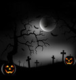 halloween night with scary forest and grinning vector image