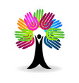hands tree help-charity concept logo vector image vector image
